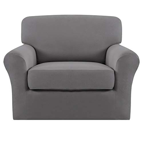 Easy-Going 2 Pieces Microfiber Stretch Couch Slipcover – Spandex Soft Sofa Couch Cover, Washable Furniture Protector with Elastic Bottom for Kids,Pet (Chair Light Gray)