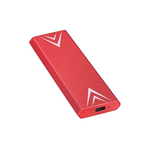 Disco duro externo portátil de 1 TB y 2 TB USB 3.1/Type-C Slim Hard Drive Data Storage Compatible con PC, portátil y Mac (2 TB rojo)