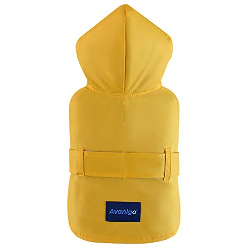 Avanigo Dog Wear Yellow Dog Raincoat with Pockets, Dog Rain Jacket with Hood, Rain/Water Resistant, Stylish Premium Dog Raincoats,X Medium