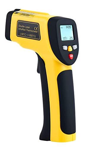 Komerci HT-818 Dual Laser Infrarot-Thermometer Pyrometer Distanz 12:1 bis +850°C gelb/grau