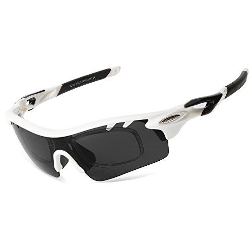 HODGSON Polarisierter Sport Sonnenbrille für Herren und Damen Fahren Golf Laufen Radsport Superleichtes Rahmen (Weiß/Schwarz)