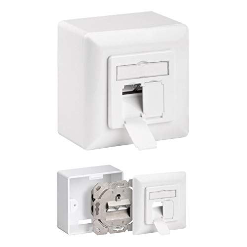 Netzwerkdose | CAT 6a | Universaldose | Aufputz Unterputz | 2X RJ45 | bis 500MHz | 10 GBit Ethernet Netzwerk | Geschirmt | Kombidose Datendose LAN | Weiss
