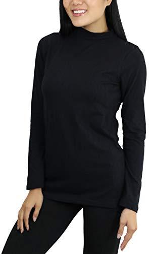 ToBeInStyle Women's Basic Long Sleeve Mock Neck Top - Black - Large