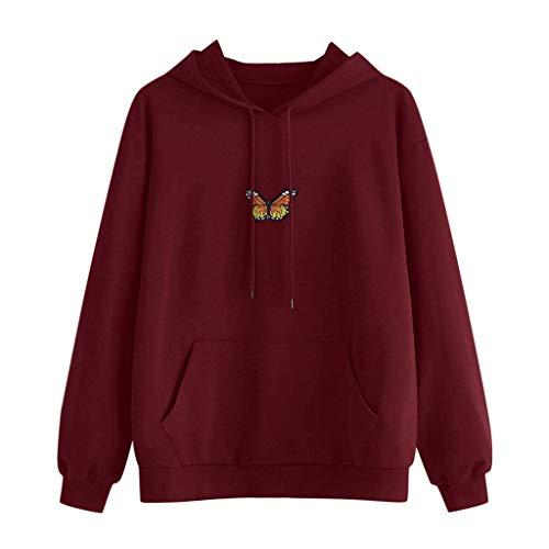 Janly Clearance Sale Blusa de manga larga para mujer, con diseño de mariposas, manga larga, bolsillo con capucha, túnica para mujer, para Pascua, Día de San Patricio, regalos, Vino, S