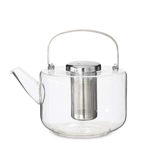 Teekanne Glas Mit Siebeinsatz Tropffrei: Glasskanne mit Teesieb, Henkel Wird Nicht heiß, für losen Tee geeignet, 1.3 L
