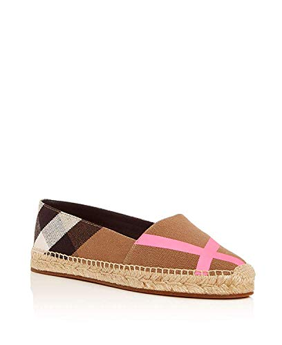 BURBERRY Womens Hodgeson House Check Espadrille Flats Bright Pink (35.5)