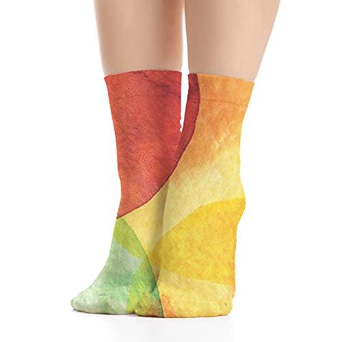 Calcetines de algodón peinado para hombre y mujer, estilo abstracto de papel pintado de acuarela en diseño de arte moderno, Negro Turquesa Multicolor Naranja Verde1, Talla única