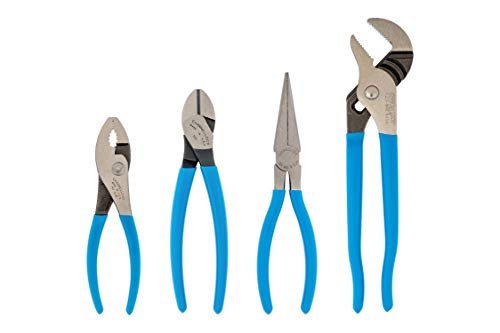CHANNELLOCK HD-1 Ultimate 4-Piece Pliers Set | Made in USA | Forged High Carbon Steel | Includes Tongue & Groove, Diagonal Cutting, Long Nose and Slip Joint Pliers
