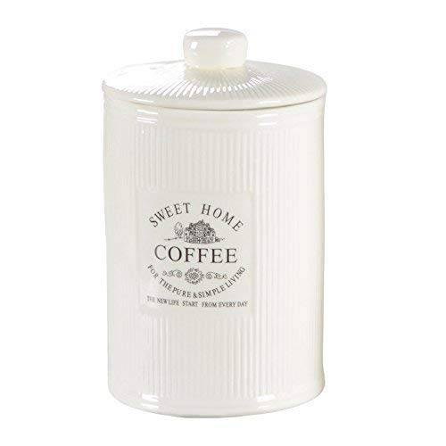 DRULINE Vorratsdose Kaffeedose Teedose Zuckerdose Shabby Chic Creme Weiß Keramik Sweet Home (Coffee)
