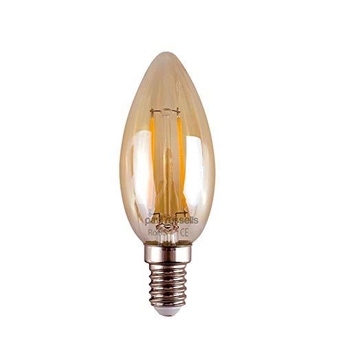 Vintage gloeilampen, 3 stuks, kleine Edison-schroefdraad, barnsteen/retro-bron, 2 W, kaarslicht, C35, voor kroonluchter en als decoratie, stralingshoek 360 graden, E14,SES, 2200K, warmwit, 25W