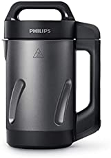 Philips Kitchen Appliances Philips Soup Maker, Makes 2-4 Servings, HR2204/70, 1.2 Liters, Black and Stainless Steel