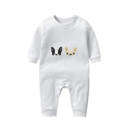 TIINTEXBA Baby Boy Girl Clothes Boston Terrier and French Bulldog Friends Baby Onesies Cute Cotton Long Sleeve Bodysuits