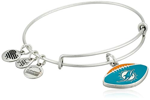 Alex and Ani Women's Color Infusion Miami Dolphins Football II EWB Bracelet, Rafaelian Silver, Expandable