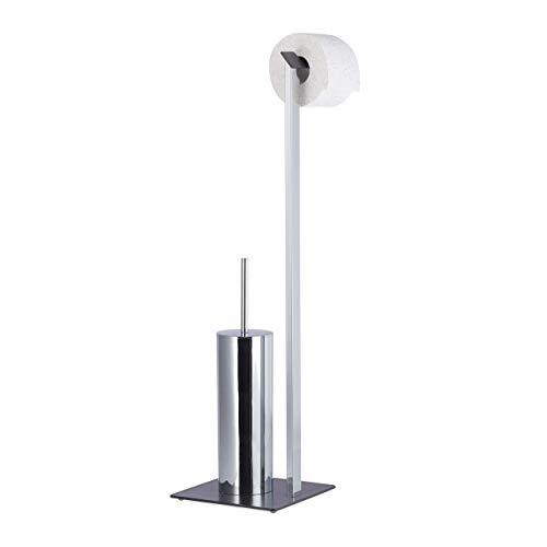 Relaxdays WC-Garnitur Chrom, Toilettenpapierhalter, WC-Bürste, WC-Bürstenhalter, HxBxT 71,5x23,5x20 cm, silber/anthrazit
