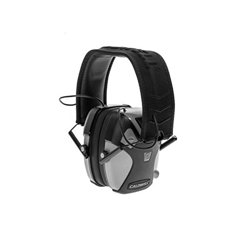 Caldwell E-Max PRO - ADULT Gray - Low Profile Electronic 23 NRR Hearing Protection with Sound Amplification - Adjustable Earmuffs for Shooting, Hunting and Range