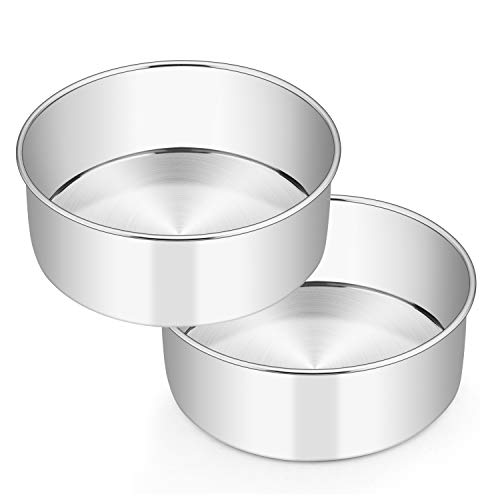 8 x 3 Inch Round Cake Pans, E-far Stainless Steel Deep Cake Baking Pan for Layer Cake Chiffon Cheesecake, Healthy Metal Cake Tin for Birthday Wedding Party, Straight Side & Dishwasher Safe - Set of 2
