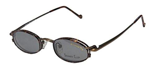 SmartClip 601 Mens/Womens Designer Full-rim Hip Polarized Sanglass Clip-on Lenses Sunglass Lens Clip-Ons Flexible Hinges Eyeglasses/Eyewear (41-19-135, Metallic Brown/Havana)