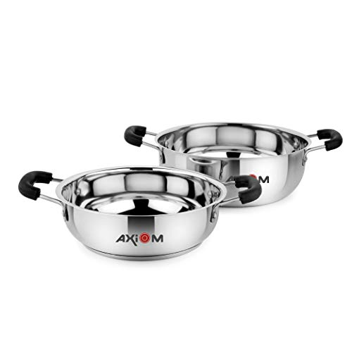 AXIOM Kadai Set of 2 Stainless Steel (2 Litre and 3 litres)...