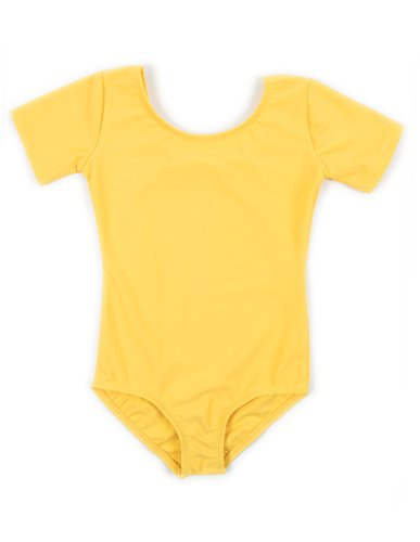 Leveret Girls Leotard Yellow Short Sleeve Small (6-8)