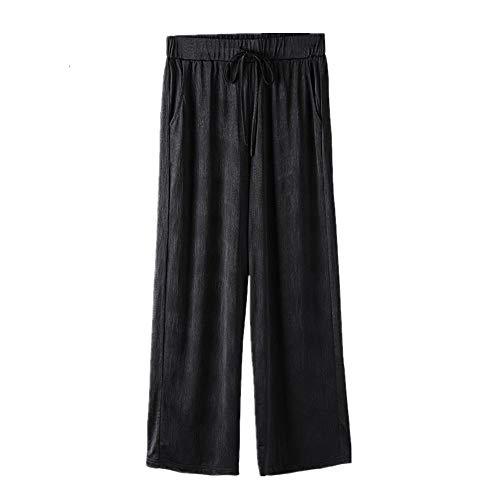 NP Plus Size Dames Zomerbroek Wide-Leg Elastische hoge Taille Zwart Losse Broek - zwart - 10XL