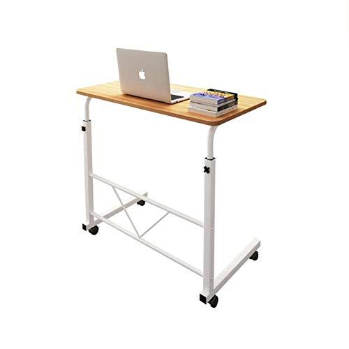 QIDI Laptop-Tisch Stand Schreibtisch Hölzern Wagen Lapdesk Mausbrett Verstellbare Höhe Abschließbar Rollen Tragbar Beweglich Sofa Bett Büro (Farbe : Brown)