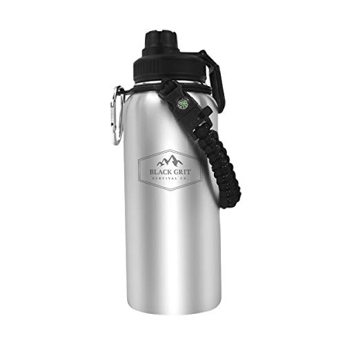 Black Grit Survival Bottle – Un-insulated, Stainless Steel Water Bottle – Single-Walled Survival Bottle with a Fire Starter, Whistle, Carabiner, Paracord Handle, and Compass – 32 oz Heavy-Duty Camping