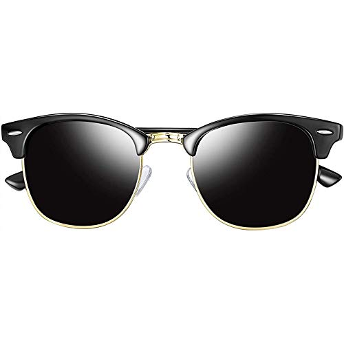 Joopin Retro Halbrahmen Sonnenbrille Herren/Damen Klassische Schwarze Polarisierte Sonnenbrille mit UV400 Schutz