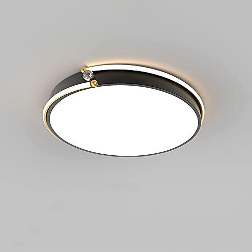 LXIANG Lámpara de Techo para Dormitorio Principal de Lujo con luz, lámpara de Sala de Estar Minimalista Moderna, Luces de Techo Redondas Negras, lámparas de instalación LED empotradas,