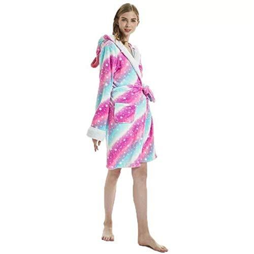 Vestido de baño de Franela para Adultos Ropa de Dormir Mujeres Hombres Albornoz Vestido de Invierno cálido y Grueso Unisex Panda Unicornio Pijamas de Felpa