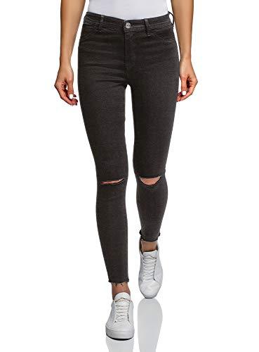 oodji Ultra Damen Skinny Jeans mit Rissen an den Knien, Schwarz, 30W / 30L (DE42 = EU44 = XL)