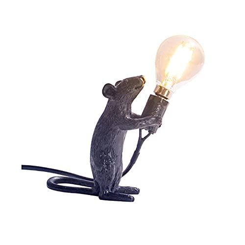 N\C Lámpara De Resina para Ratón LED E12 para La Decoración del Dormitorio De La Sala De Estar Luces LED EU/AU/US/UK Plug de pie Negro