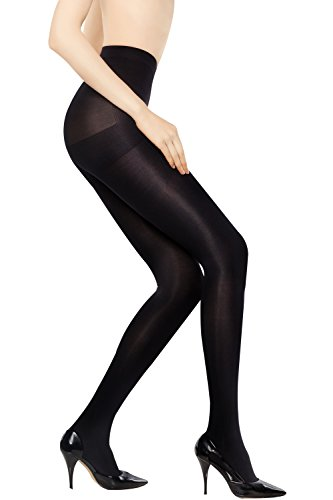 +MD Women's Compression Pantyhose 8-15mmHg Smooth Ladies Support Stocking Compressive Tights BlackL