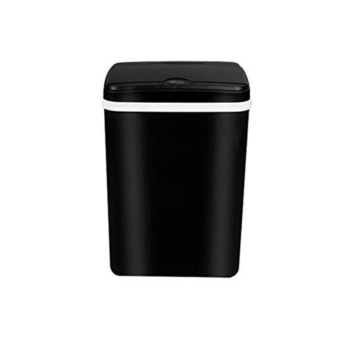 MotBach Smart Passh Can USB Recarga Luz Energía Luz Bin de residuos Inducción automática Rubbish Can Home Kitchen Bath Dustbin (Color : Black 15l, Size : Rechargeable)