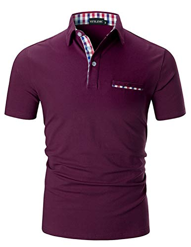 STTLZMC Mens Casual Short Sleeve Polos with Fashion Plaid Splice T-Shirt,Wine Red,L