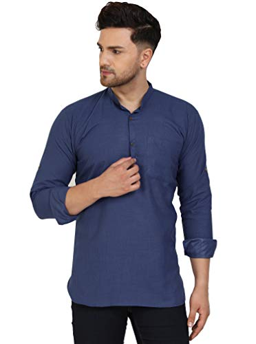 SKAVIJ Men's Tunic Viscose Casual Short Kurta Shirt Regular Fit Dress (X-Large, Navy)