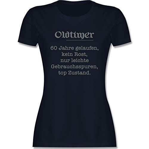 Geburtstag - 60. Geburtstag Oldtimer Fun Geschenk - M - Navy Blau - 60 Geburtstag Tshirt Geschenk - L191 - Tailliertes Tshirt für Damen und Frauen T-Shirt