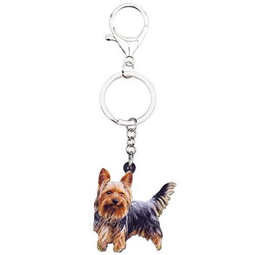 DFGSDFB SchlüsselbundAcryl Win Yorkshire Terrier Hund Schlüsselanhänger Tier Schlüsselanhänger Für Frauen Mädchen Damen Halter Autoschlüssel Charme Kinder Geschenk