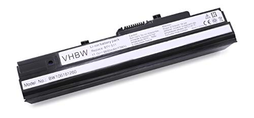 vhbw Li-ION Batterie 6600mAh (11.1V) pour Ordinateur Portable, Notebook Advent 4211, Athec Netbook LUG N011, LG X110 comme BTY-S11.
