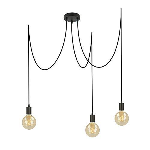 Pendelleuchte schwarz Metall 3 flammig | E27 Fassung, höhenverstellbares Textilkabel, 3x Deckenpins für den Affenschaukel Lampen Look Deckenleuchte Vintage (schwarz FL01 3 x 2 Meter)