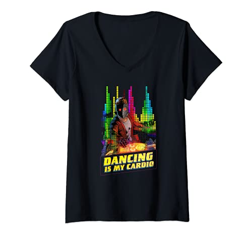 Mujer Marvel Star-Lord Peter Quill Dancing is My Cardio Camiseta Cuello V