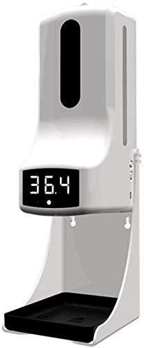 Yvelife Dispensador de jabón automático con termómetro infrarrojo Sensor automático Alarma de Alta Temperatura de 1000 ml Transmisión en 5 Idiomas para Hotel, Oficina, Cocina, fábrica