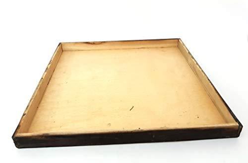 takestop® Houten dienblad voor het opbergen van menukaarten, vierkant, met houder voor vintage, keuken, restaurant, eettafel, decoratie voor huis en kantoor, 45x45x3.5cm, Bruin