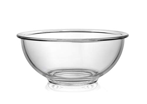 Bovado USA Glass Bowl for Storage, Mixing, Serving - Clear, Dishwasher, Freezer & Oven Safe Glass, Easy-Clean, 1.5 QT