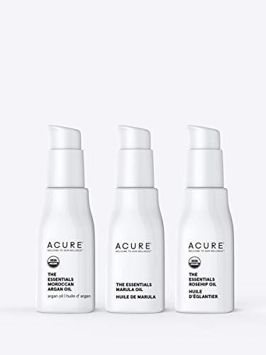 Acure The Essentials Oil Starter Kit - 100% Vegan & For Any Skin & Hair Care Regimen, Includes Moroccan Argan Oil, Marula Oil & Rosehip Oil, 3 Count