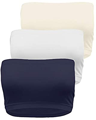 TL Women's Single or 3PK Seamless Active Base Layer Bandeau Tube Top - 8 Inches 3PK NV_WH_Ivory One Size