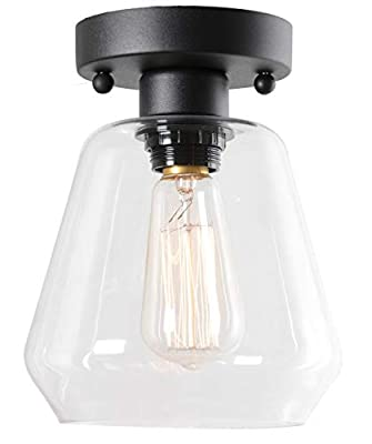 Semi Flush Mount Ceiling Light, Industrial Clear Glass Shade Light Fixtures Ceiling for Hallway, Schoolhouse, Entryway, Kitchen, Dining Room, Laundry Room