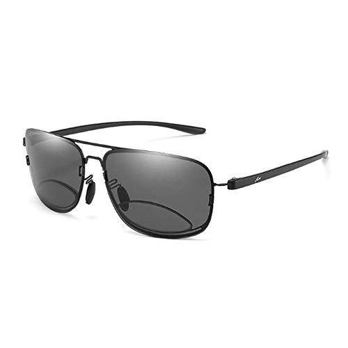Ironwood Banana Gafas de Sol bifocales TR90, Gafas de Lectura de Sol Color Gris Progresivo Bloqueador UV, Gafas de Lectura Ligeras de Marco Completo, Aumento Bifocal de 1,00 a 3,50 (+ 1.0)
