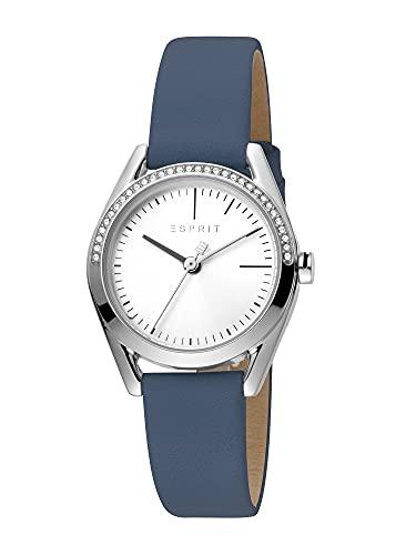 Esprit Set Uhr mit Armband Lock Stones Damenuhr Lederarmband Blau ES1L117L0015