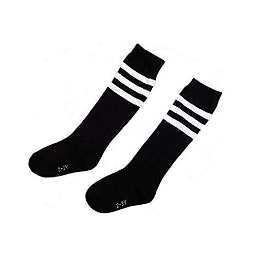 Flyusa 1 Pair Toddlers Children Kids Girls Boys Cotton Bootie Knee High Long Soccer Socks Team Socks for Kids 4-5 Years Old