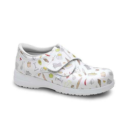 FELIZ CAMINAR - Zapatos Estampados Atom hosteleria con Inserto en el talón/Antideslizantes y Cómodos Unisex/hostelería, panadería… (Blanco 41)